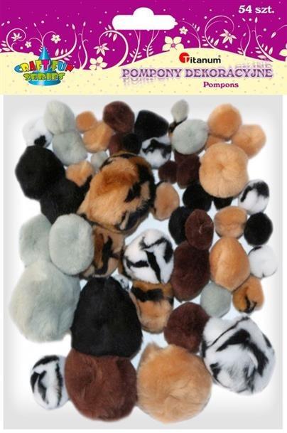 Kolorowe Pompony Animal 54szt Craft Fun